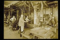 Employees at machines, C. S. Mersick and Company, New Haven