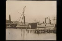 Steamboats moored at Mystic